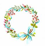 Watercolor floral frame Stock Photo