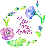 Watercolor floral frame Royalty Free Stock Photos