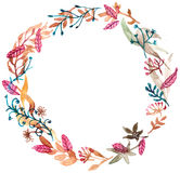 Watercolor floral frame, colorful natural illustration Royalty Free Stock Photo