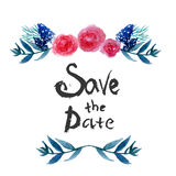 Watercolor  Floral frame design save the date with Stock Photography