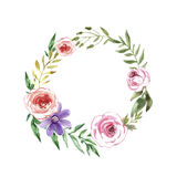 Watercolor floral frame. Watercolor flower  wreath.  Beautiful floral background of watercolor sketches for the design and decoration.  Vintage Stock Images
