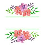 Watercolor floral frame with green lines and bouquets stock illustration