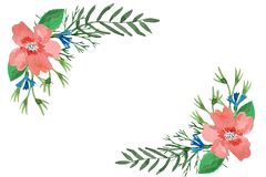 Watercolor floral frame of leaves, herbs, hibiscus and cornflowers stock illustration