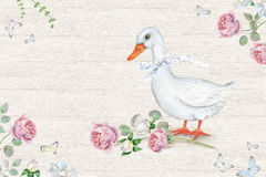 Watercolor floral frame with pink roses and cute white goose stock illustration