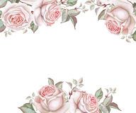 Watercolor floral frame with roses on white Stock Photos