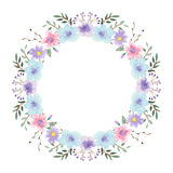 Watercolor floral frame. Soft and gentle colors.  design element. Copy space Stock Photos