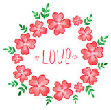 Watercolor floral frame Stock Images