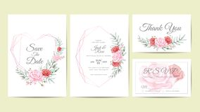 Watercolor Floral Frame Wedding Invitation Cards Template. Hand Drawing Flower and Branches Save the Date, Greeting, Thank You, vector illustration