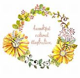 Watercolor floral frame for wedding invitation design. Save the date illustration Royalty Free Stock Image