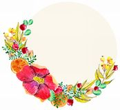 Watercolor floral frame Royalty Free Stock Image