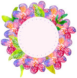 Watercolor floral frame Stock Image