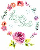 Watercolor floral frame for wedding invitation. Save the date illustration Stock Image