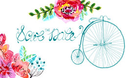 Watercolor floral frame for wedding invitation. Save the date illustration with retro bicycle Stock Image