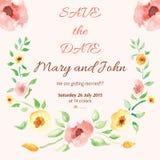 Watercolor floral frame for wedding invitation stock illustration