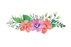 Watercolor floral frame of wild flowers, leaves, hibiscus and cornflowers stock illustration