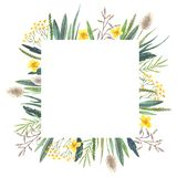Watercolor floral frame of wild flowers vector illustration