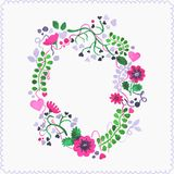 Watercolor floral frame or wreath. Greeting card. Stock Photography