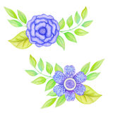 Watercolor floral frames. Watercolor vintage blue flowers frames. Hand painted wreath with posy roses, ranunculus, anemones, leaves and floral elements Vector Illustration