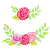 Watercolor floral frames. Stock Photos