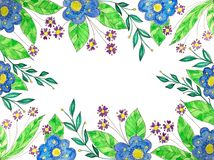 Watercolor floral geometric frame with painted wildflowers vector illustration