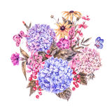 Watercolor Floral Greeting Card with Hydrangea Royalty Free Stock Image