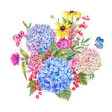 Watercolor Floral Greeting Card with Hydrangea Royalty Free Stock Photography