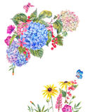 Watercolor Floral Greeting Card with Hydrangea Stock Images