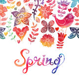 Watercolor floral greeting card with Spring lettering. Vintage Stock Images