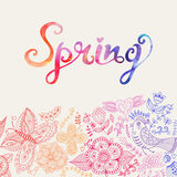 Watercolor floral greeting card with Spring lettering. Vintage Royalty Free Stock Photos