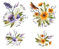 Watercolor floral Halloween compositions. stock illustration
