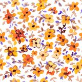 Watercolor floral hand drawn colorful bright seamless pattern Stock Image