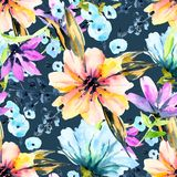 Watercolor floral hand drawn colorful bright seamless pattern vector illustration