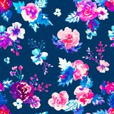 Watercolor floral hand drawn colorful bright seamless pattern Royalty Free Stock Image