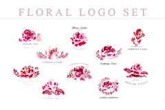 Watercolor floral hand drawn company logo design template collection isolated on white background. Stock Photography