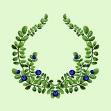 Watercolor floral illustration of blueberries branches with green leaves wreath. stock images