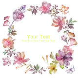 Watercolor floral illustration collection. flowers arranged un a shape of the wreath perfect stock illustration