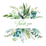 Watercolor floral illustration - leaf frame / border, for wedding stationary, greetings, wallpapers, fashion, background.