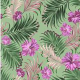 Watercolor Floral Leaves Seamless Pattern Background. Illustration stock illustration