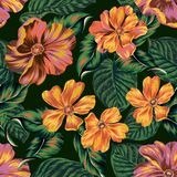 Watercolor Floral Leaves Seamless Pattern Background. Illustration royalty free illustration