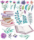 Watercolor floral and nature elements with beautiful old books Royalty Free Stock Images