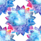 Watercolor floral ornament colorful lotus flowers Royalty Free Stock Photos
