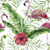 Watercolor floral pattern with exotic flowers, leaves and flamingo. Hand painted ornament with tropical plant: hibiscu. S, palm leaves and branches isolated on stock illustration