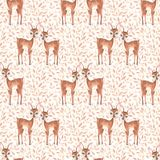Watercolor floral pattern with fawns Royalty Free Stock Photography