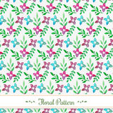 Watercolor floral pattern. With flowers and leaves Vector Illustration