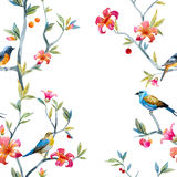 Watercolor floral pattern. Pattern with hand drawn watercolor flowers and birds royalty free illustration