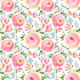 Watercolor floral pattern and seamless background. Hand painted. Gentle design. Royalty Free Stock Image