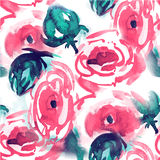 Watercolor floral pattern. Seamless pattern with purple and pink bouquet on white background. Meadow flowers Royalty Free Stock Photography