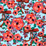 Watercolor floral pattern. Seamless with red and rose bouquet on blue background ribbon Stock Photos