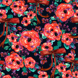 Watercolor floral pattern. Seamless with red and rose bouquet on dark background ribbon Stock Images