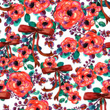 Watercolor floral pattern. Seamless with red and rose bouquet on white background  ribbon Royalty Free Stock Images